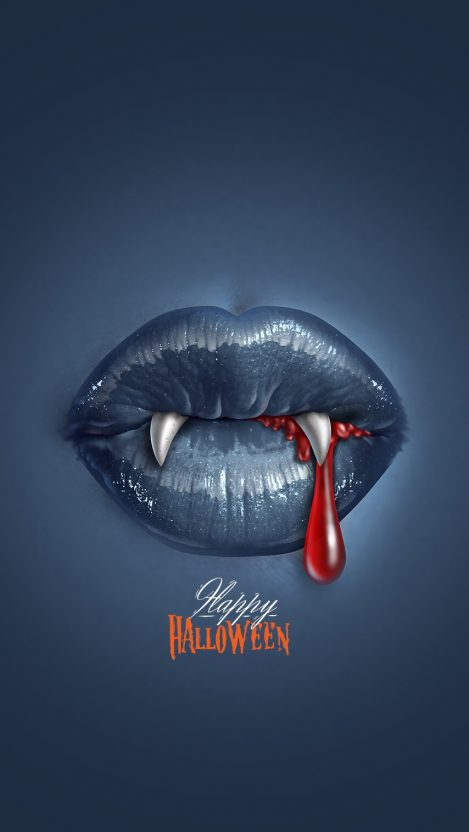Happy Holloween Scary Blood Vampire Lips iPhone Wallpaper iphoneswallpapers com