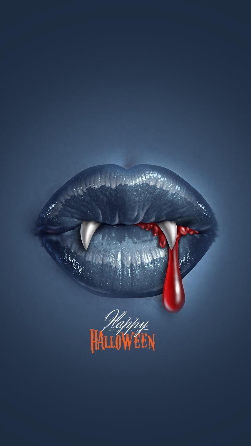 Happy Holloween Scary Blood Vampire Lips iPhone Wallpaper iphoneswallpapers com