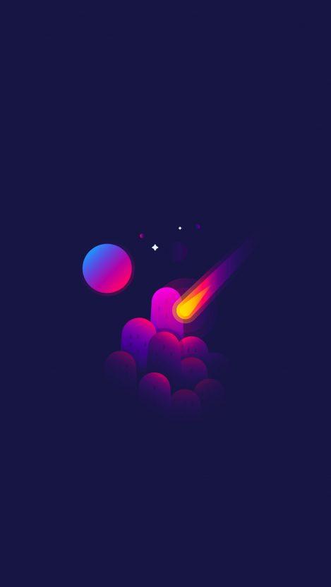 Minimal Space Meteorite Shooting Star iPhone Wallpaper iphoneswallpapers com