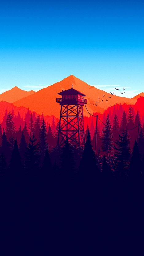 Mountains Blue Sky Minimal IPhone Wallpaper