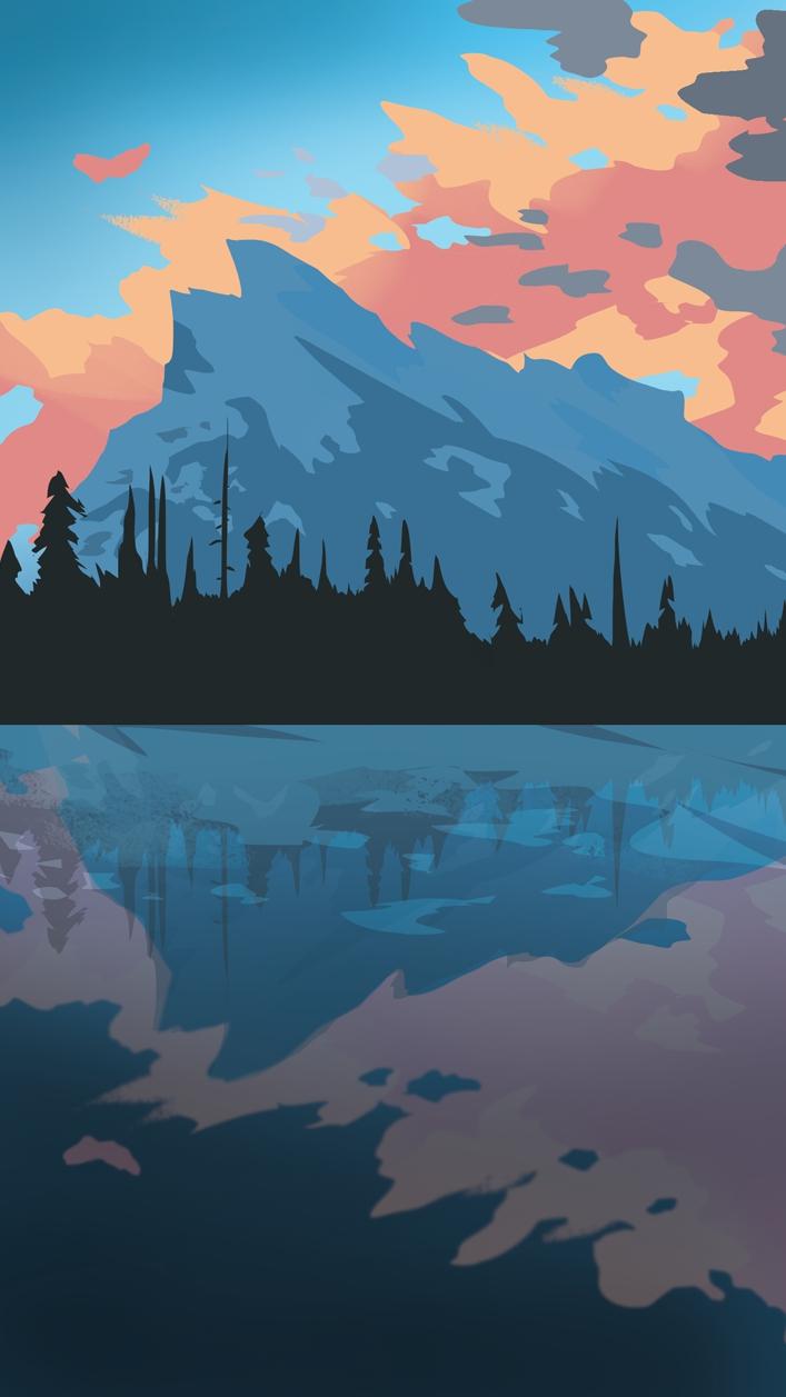 Nature Art Mountain Clouds iPhone Wallpaper iphoneswallpapers com