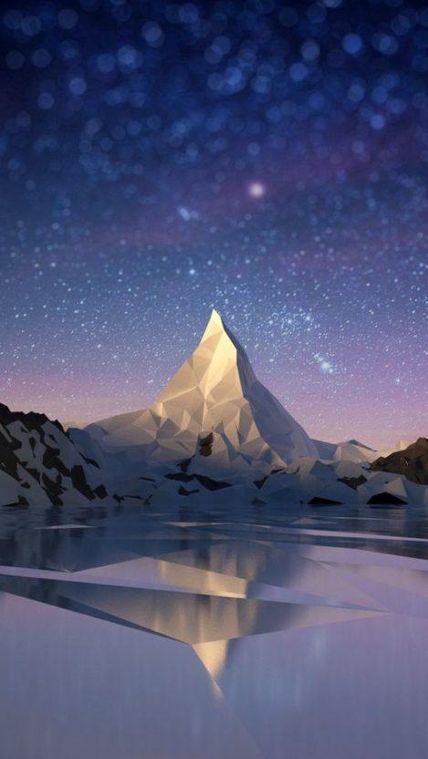 Polgon Alps Mountain Night Stars iPhone Wallpaper iphoneswallpapers com