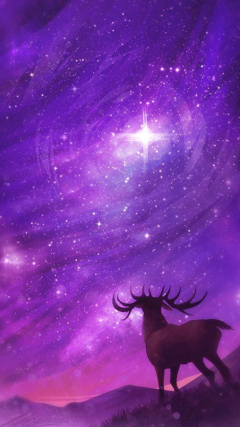 Reindeer Fantasy World Star Lights iPhone Wallpaper iphoneswallpapers com