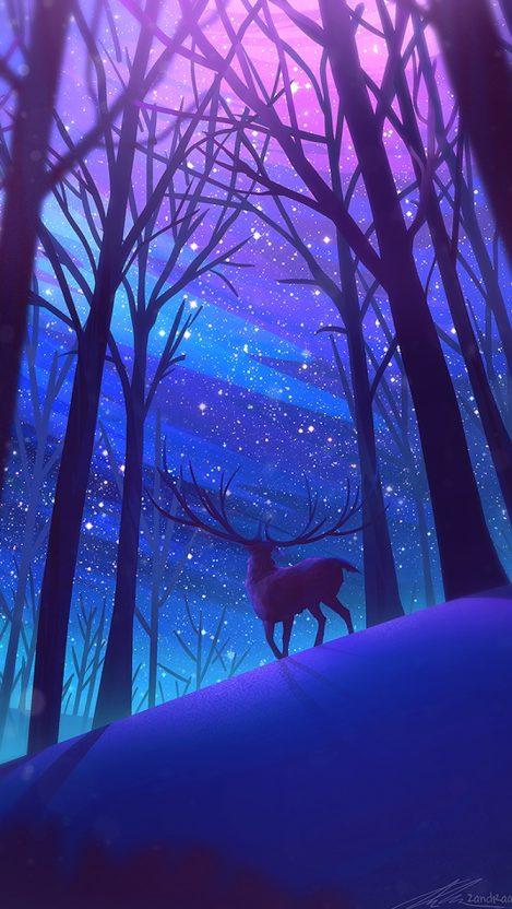 Reindeer Forest Night Stars Digital Art iPhone Wallpaper iphoneswallpapers com