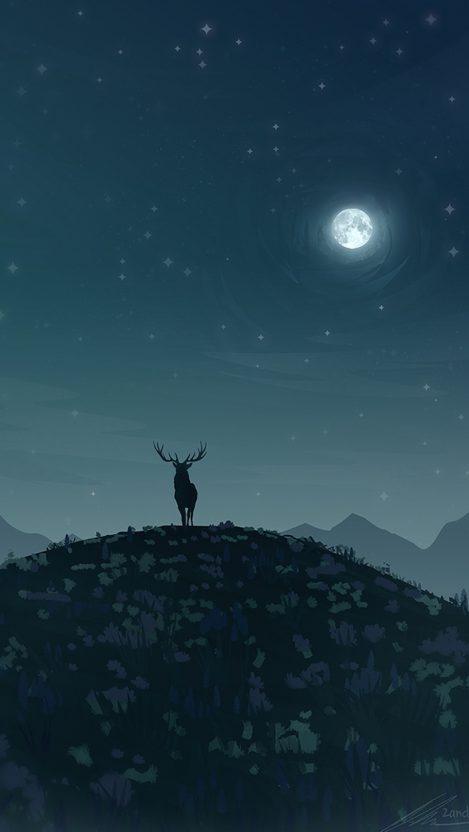 Reindeer in Night Moon iPhone Wallpaper iphoneswallpapers com