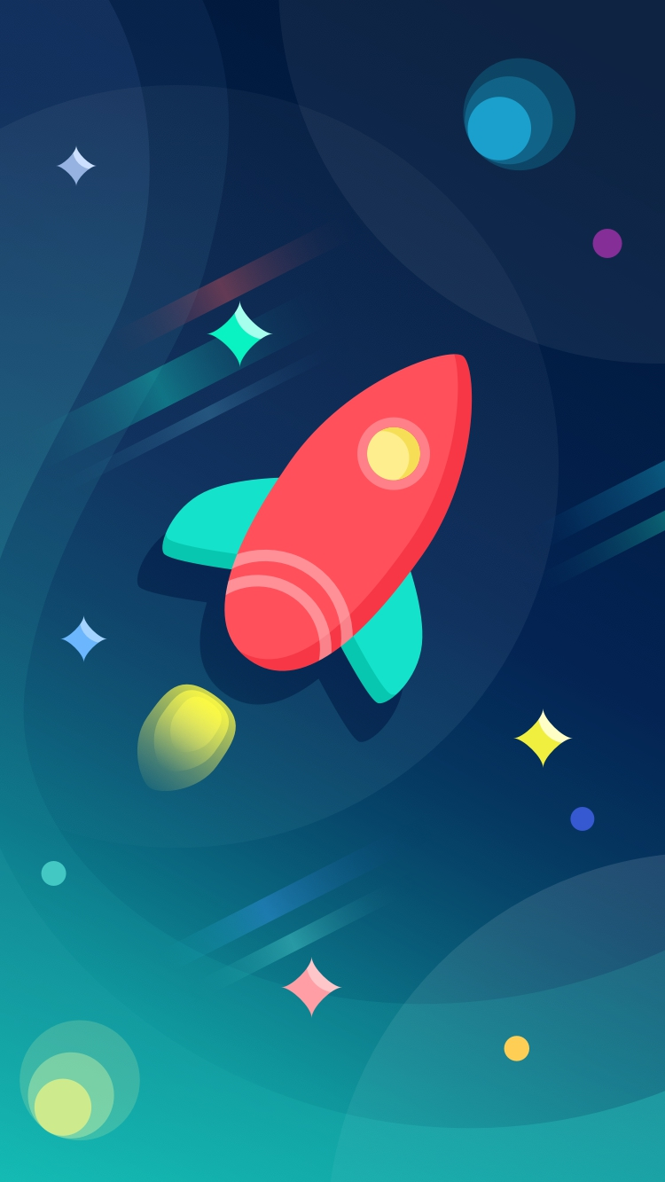 Rocket Ship Colorful Space iPhone Wallpaper iphoneswallpapers com