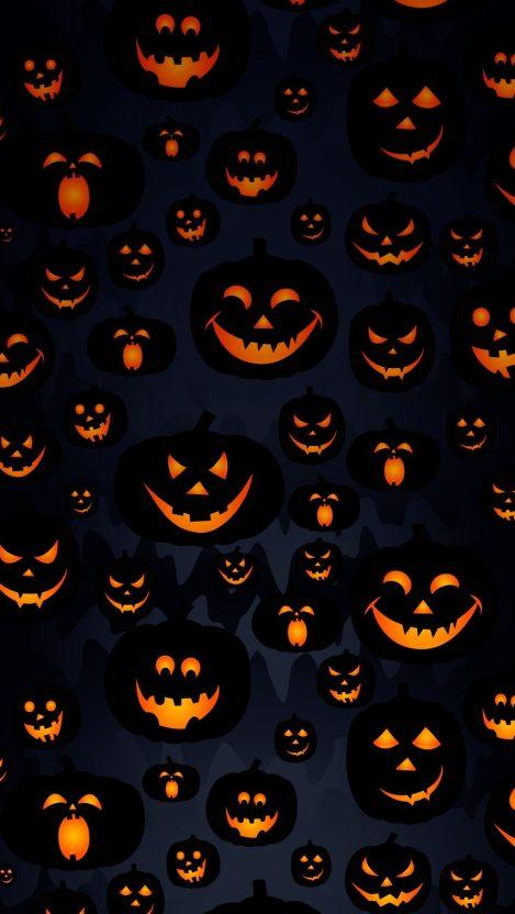 Scary Halloween Pumpkin Masks iPhone Wallpaper iphoneswallpapers com