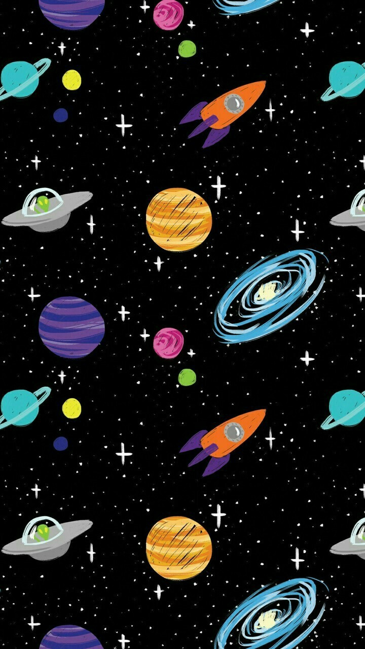 Space cartoon aliens rocket ships planets galaxy iphone - Space wallpaper phone ...