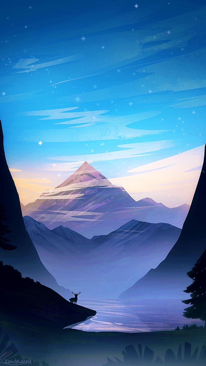 Sunset Mountain View Forest Scenery Art iPhone Wallpaper iphoneswallpapers com