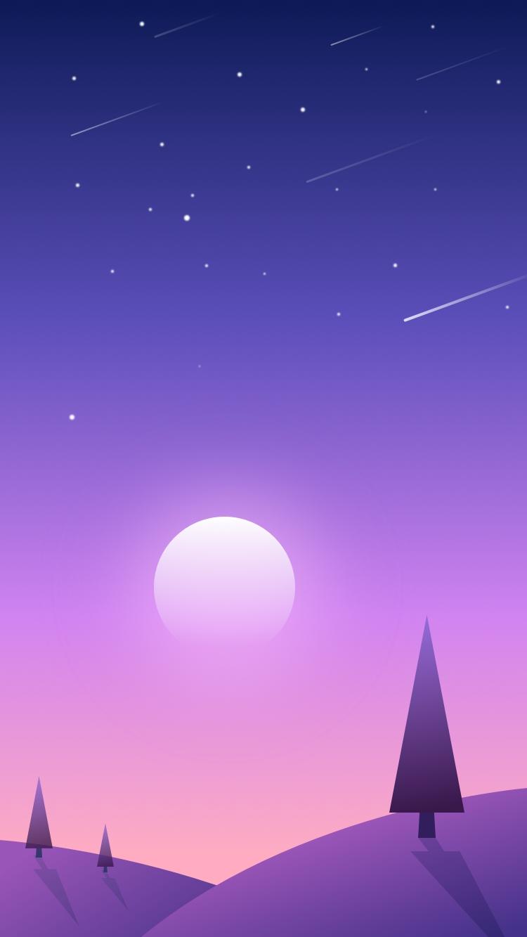 Sunset Scenery Sky Shooting Stars iPhone Wallpaper iphoneswallpapers com