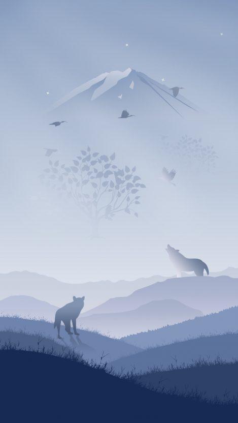 Wolves in Winter Art iPhone Wallpaper iphoneswallpapers com