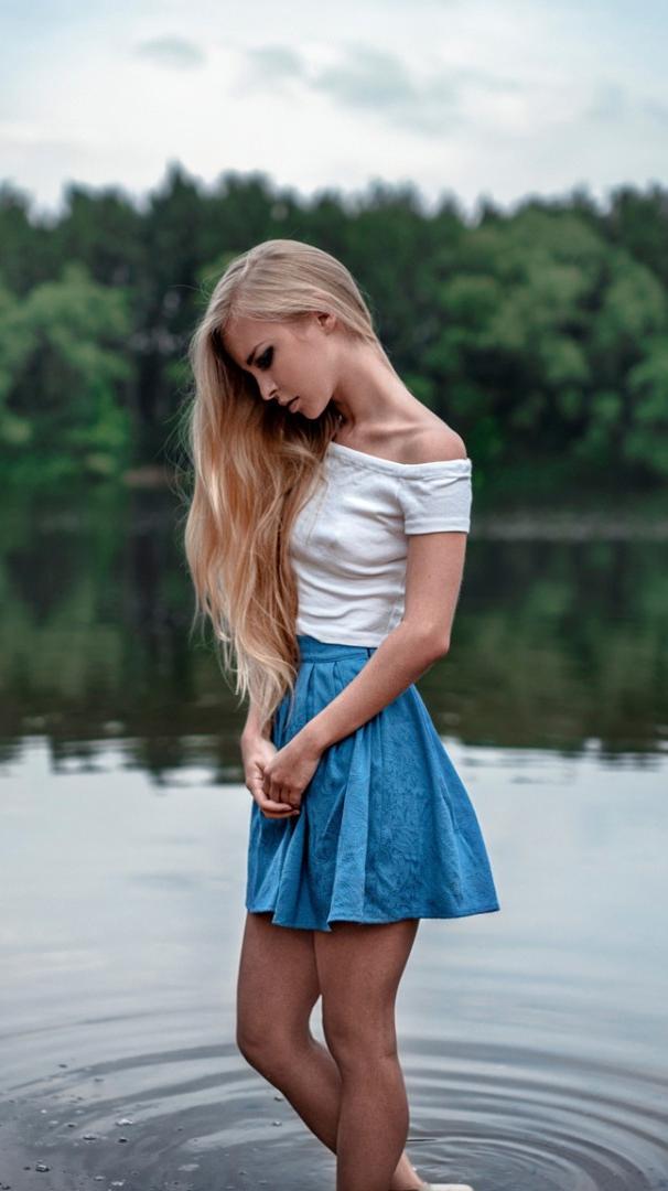 Blonde Girl in Water Lake Nature iPhone Wallpaper iphoneswallpapers com