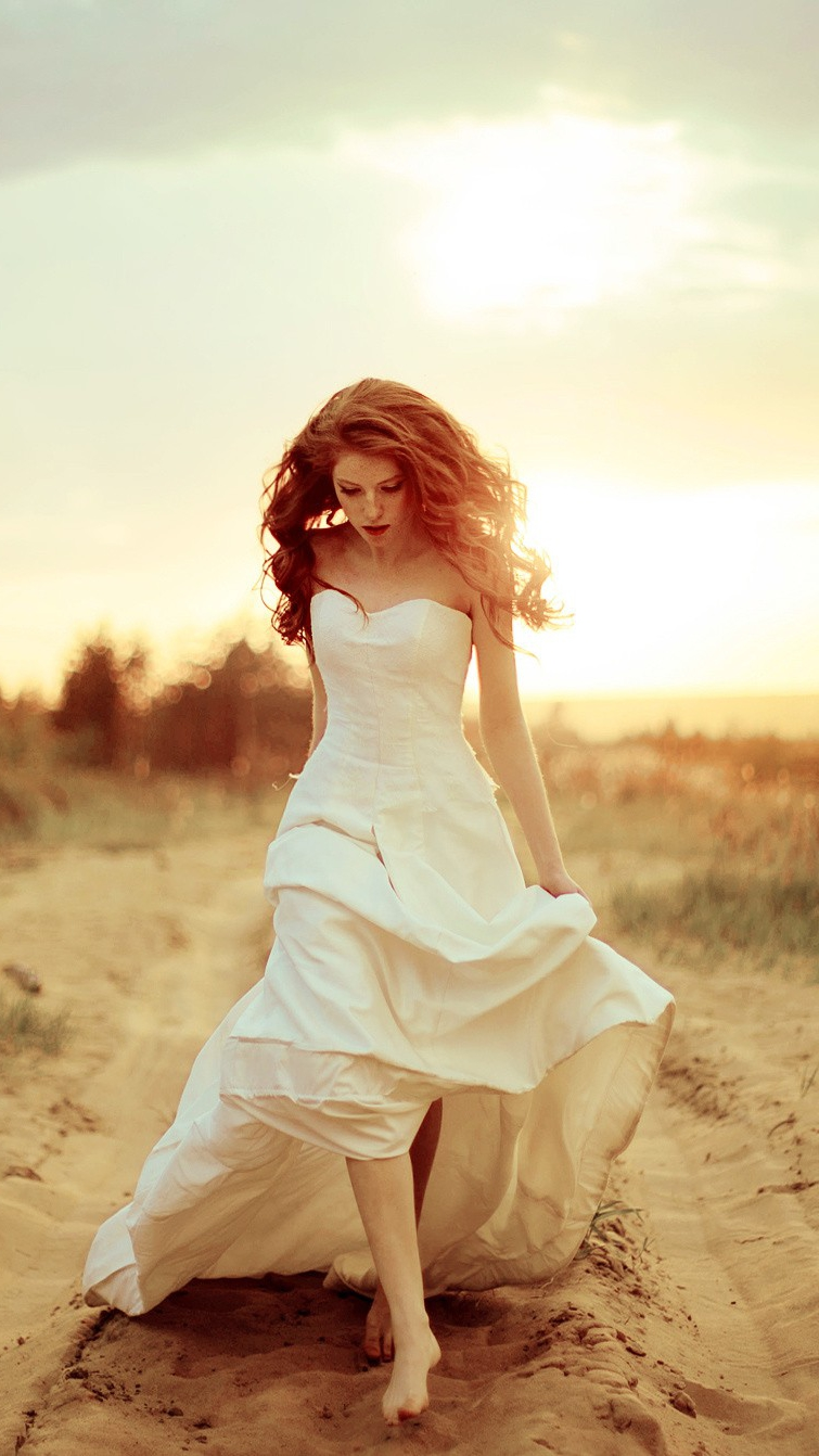 Bridal Dress Girl Walking Alone iPhone Wallpaper iphoneswallpapers com