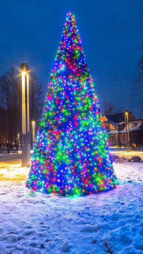 Christmas Tree Decoration Lights Wallpaper iPhone Wallpaper iphoneswallpapers com