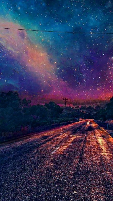 Colourful-Galaxy-View-From-Road-Wallpaper-iPhone-Wallpaper ...