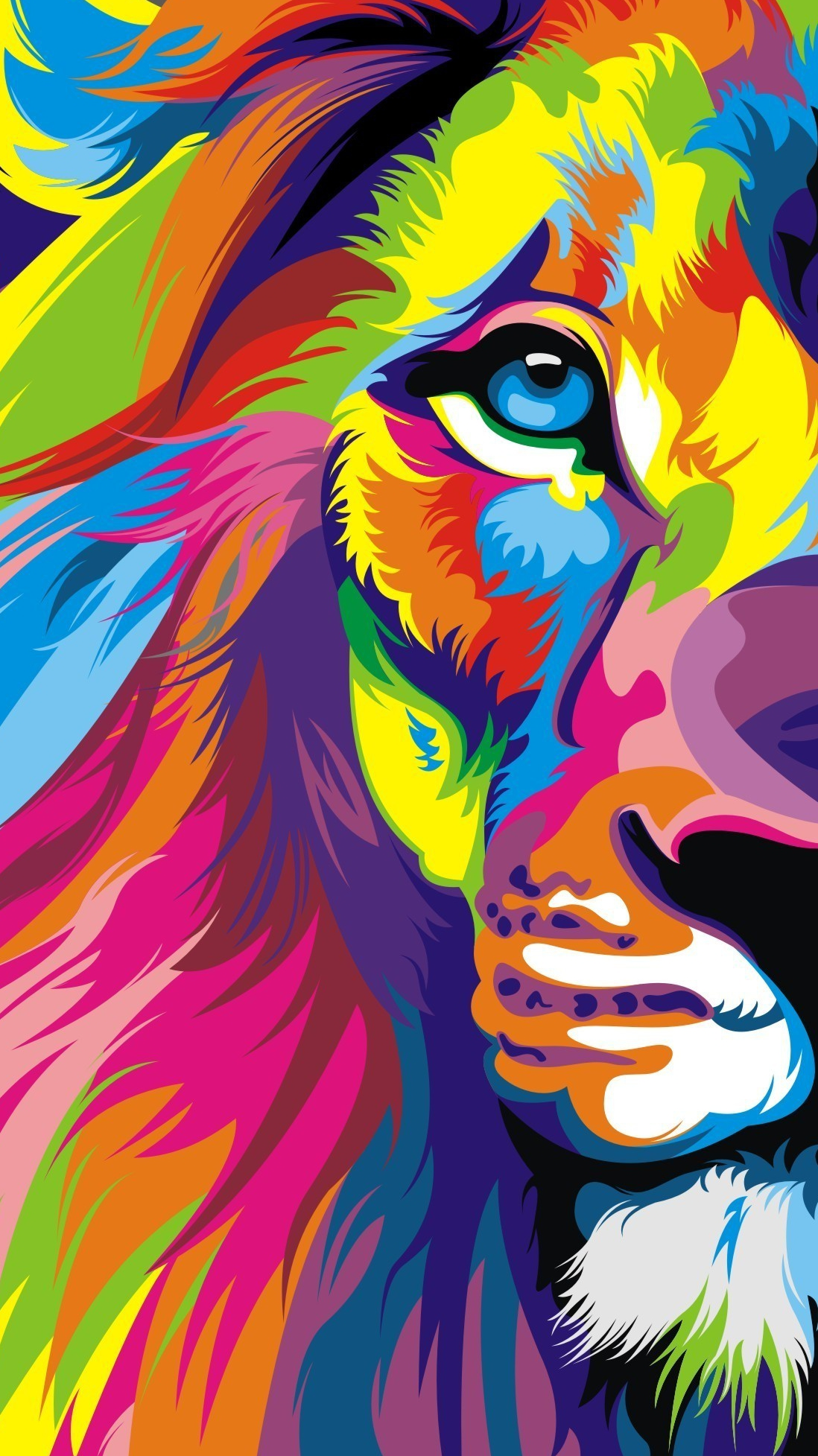 Colourful Lion Face Wallpaper iPhone Wallpaper iphoneswallpapers com
