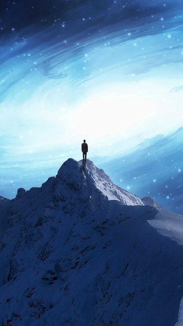 Fantsy Art Man on Mountain iPhone Wallpaper iphoneswallpapers com