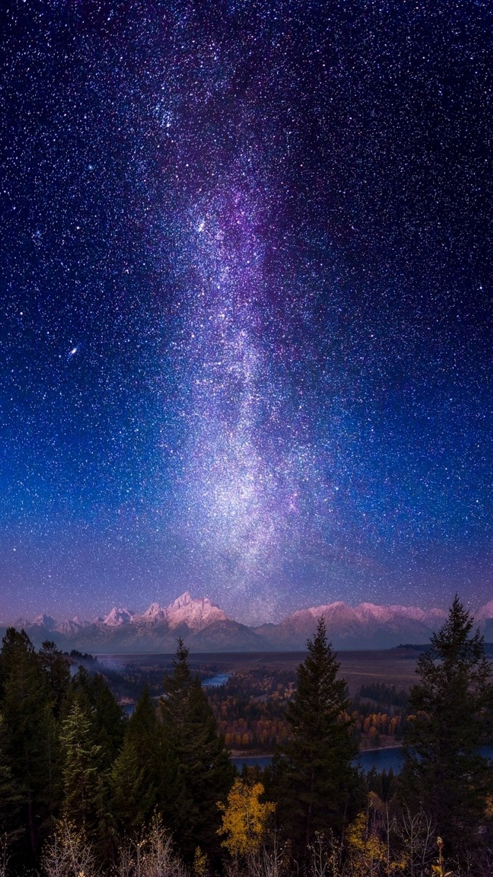 Galaxy View in Night Wallpaper iPhone Wallpaper iphoneswallpapers com