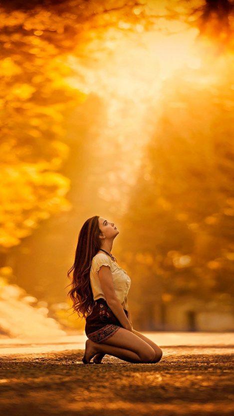 Girl Looking Up Nature Wallpaper iPhone Wallpaper iphoneswallpapers com