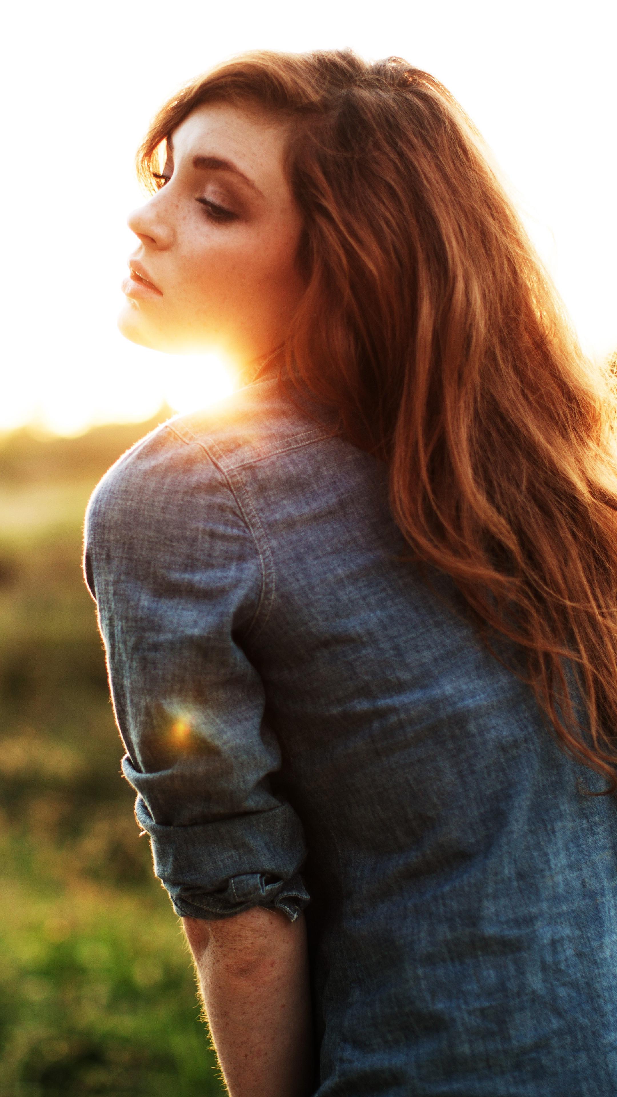 Girl Sunset Brown Hairs Wallpaper iPhone Wallpaper iphoneswallpapers com