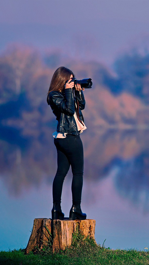 Girl Taking Picture DSLR Camera Wallpaper iPhone Wallpaper iphoneswallpapers com