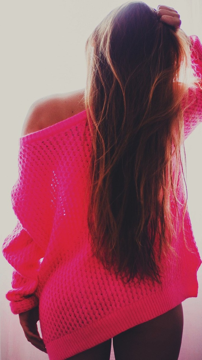 Girl With Pink Sweater Wallpaper iPhone Wallpaper iphoneswallpapers com