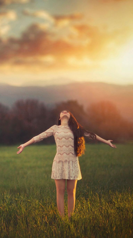 Girl in Nature Sunset Sky Wallpaper iPhone Wallpaper iphoneswallpapers com