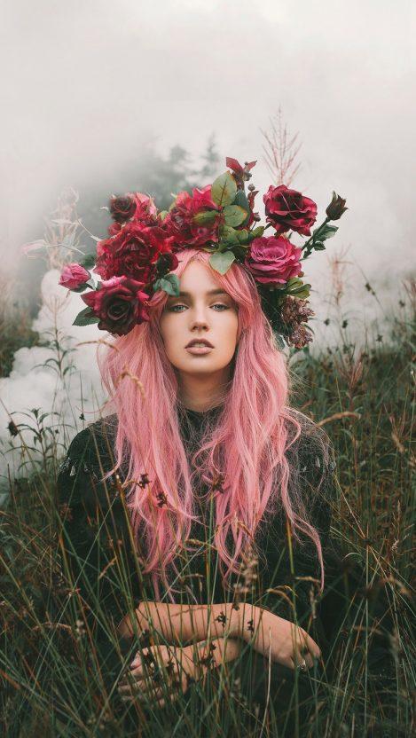 Girl of Nature Flowers Crown iPhone Wallpaper iphoneswallpapers com