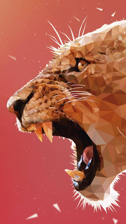 Lion Polygon Art iPhone Wallpaper iphoneswallpapers com