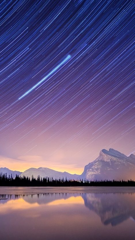 Long Exposure Stars in Sky Nature Mountains iPhone Wallpaper iphoneswallpapers com