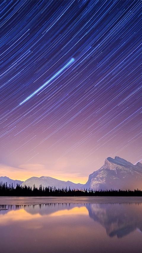 Long Exposure Stars in Sky Nature Mountains iPhone Wallpaper iphoneswallpapers com