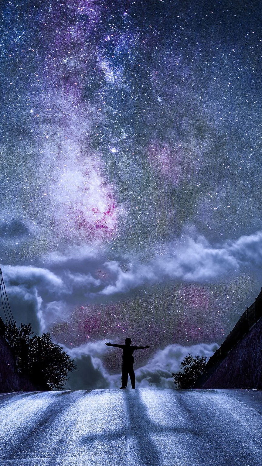 Man on the Road Galaxy from Earth iPhone Wallpaper iphoneswallpapers com