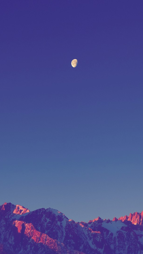 Moon in Sunset Mountains Clear Sky iPhone Wallpaper iphoneswallpapers com