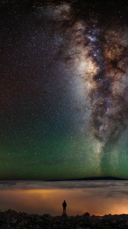 Panoramic Galaxy View from Earth iPhone Wallpaper iphoneswallpapers com
