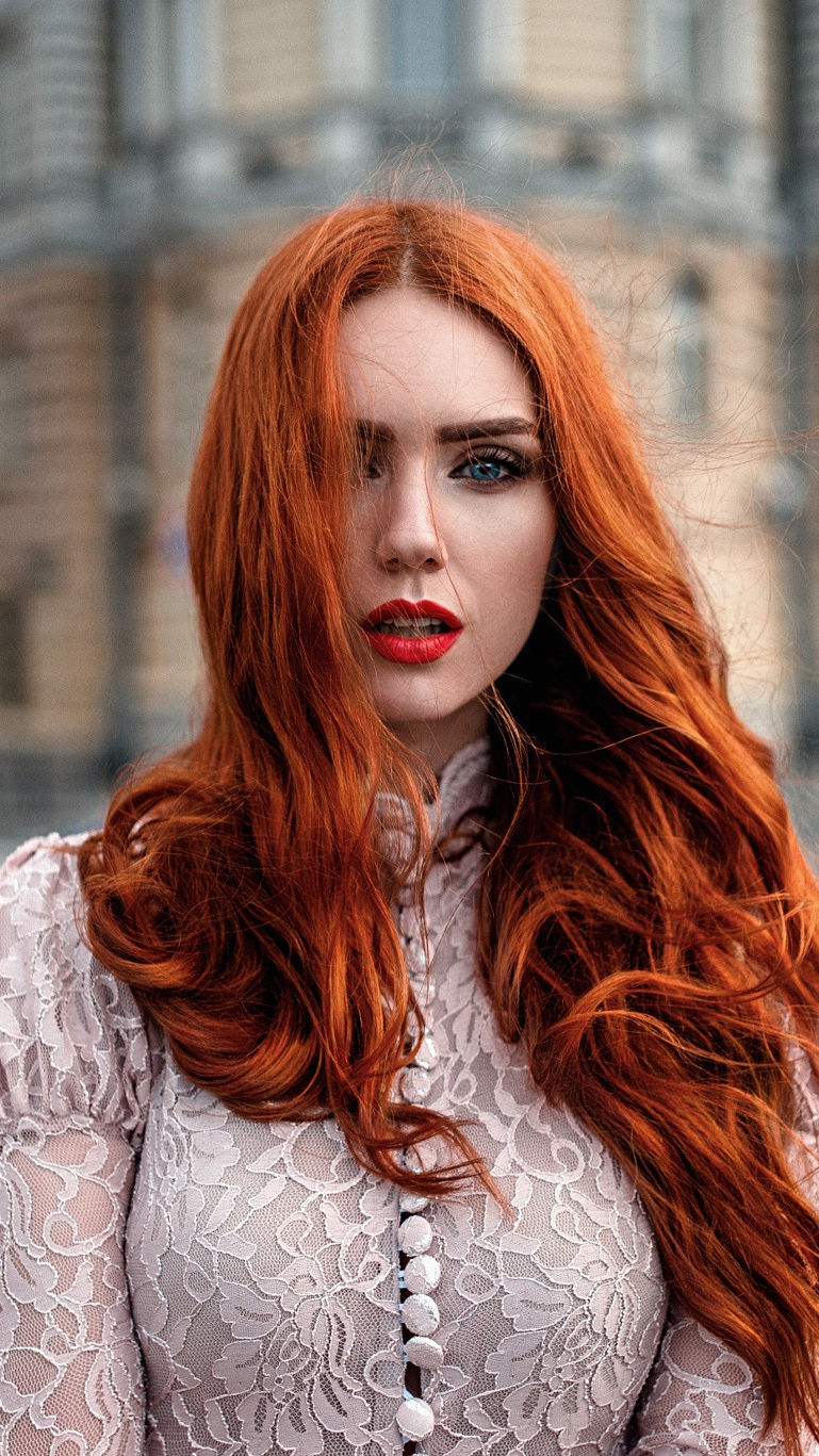 Redhead Red Lips Girl iPhone Wallpaper iphoneswallpapers com