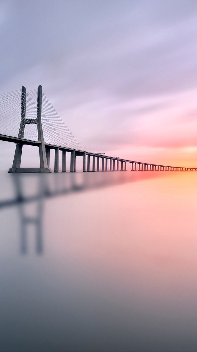Sea Bridge Sunset iPhone Wallpaper iphoneswallpapers com