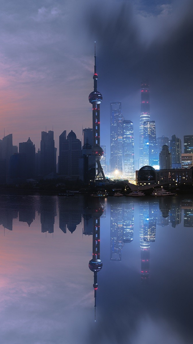 Shanghai City Artistic Sunrise and Sunset iPhone Wallpaper iphoneswallpapers com