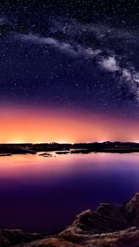 Shooting Star Galaxy View Lake iPhone Wallpaper iphoneswallpapers com