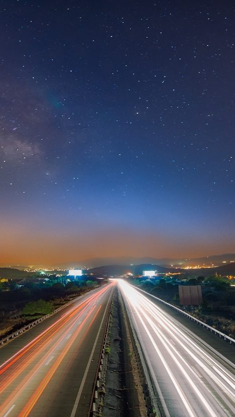 Straight Highway Lights Vehicles Long Exposure iPhone Wallpaper iphoneswallpapers com