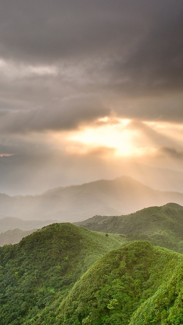 Sunlight From Clouds Green Mountains iPhone Wallpaper iphoneswallpapers com