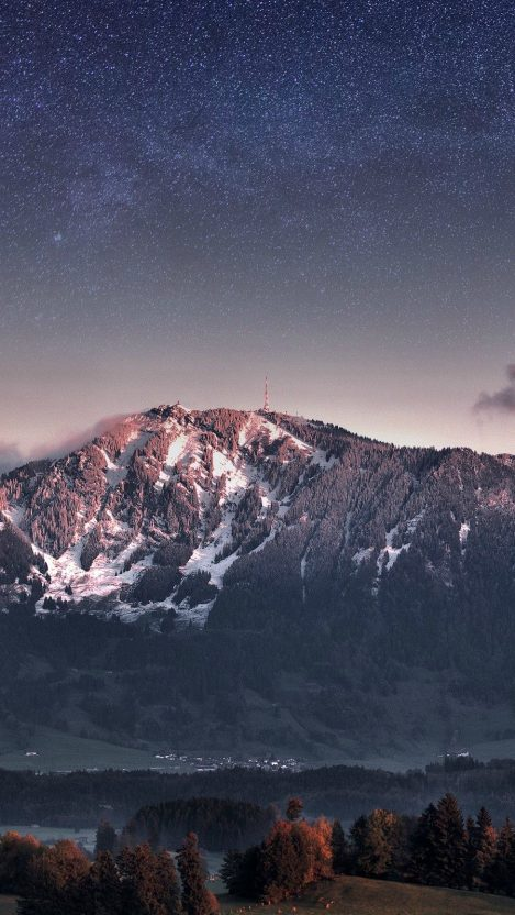 Switzerland Alps Mountains Stars Galaxy iPhone Wallpaper iphoneswallpapers com