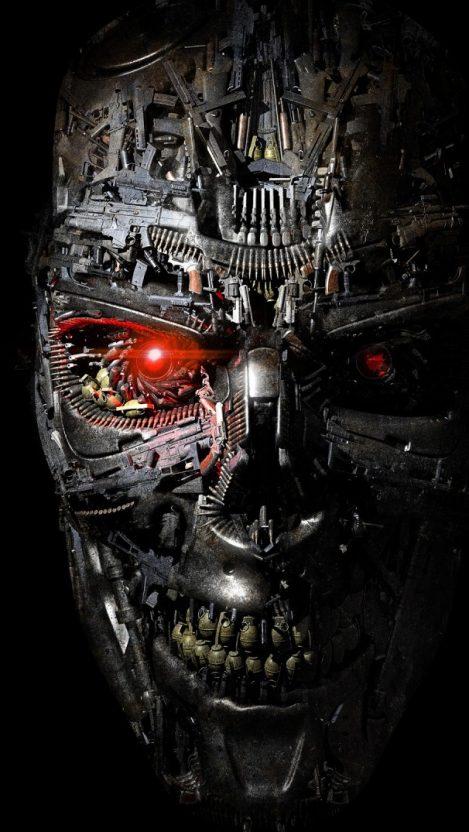 Terminator Robot Weapons Grenade AK 47 Judgement Day iPhone Wallpaper iphoneswallpapers com