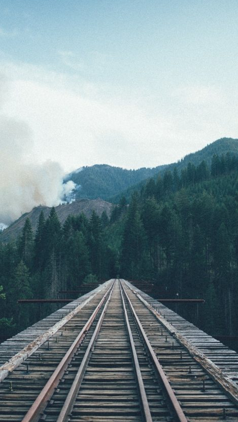 Train to Forest Railway Tracks Forest Mountains iPhone Wallpaper iphoneswallpapers com