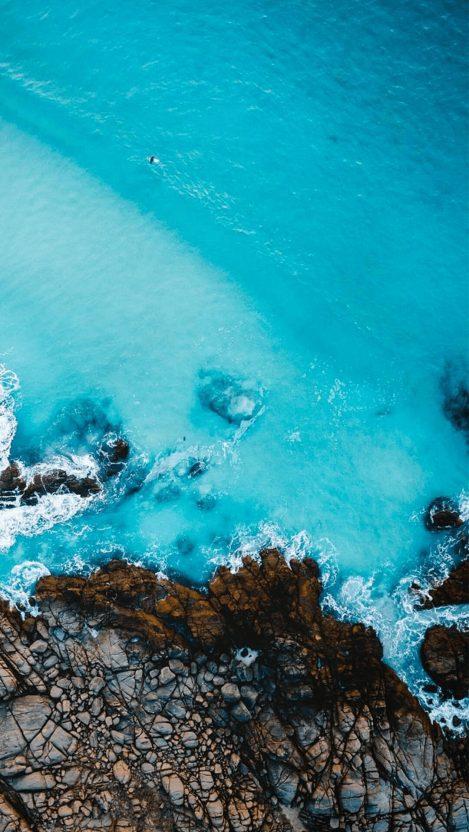 Aerial View of Beach Rocks iPhone Wallpaper iphoneswallpapers com