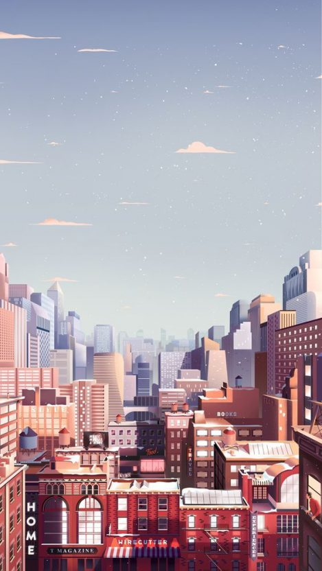 Animated City Buildings iPhone Wallpaper iphoneswallpapers com