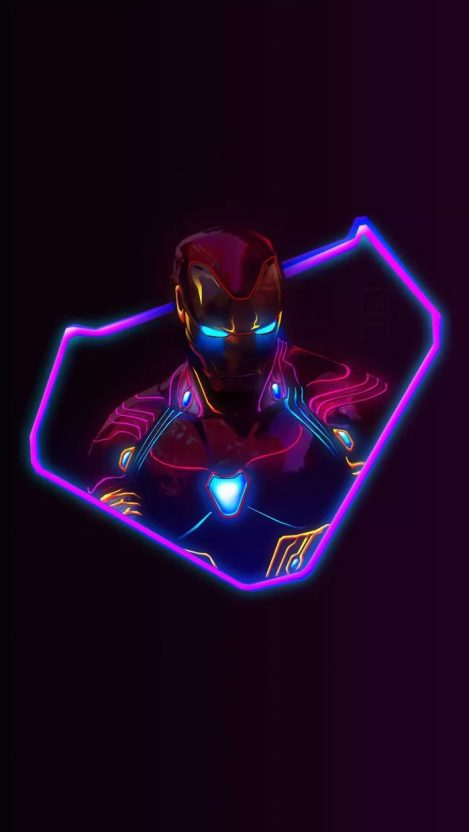 Iron Man Neon Avengers Infinity War IPhone Wallpaper
