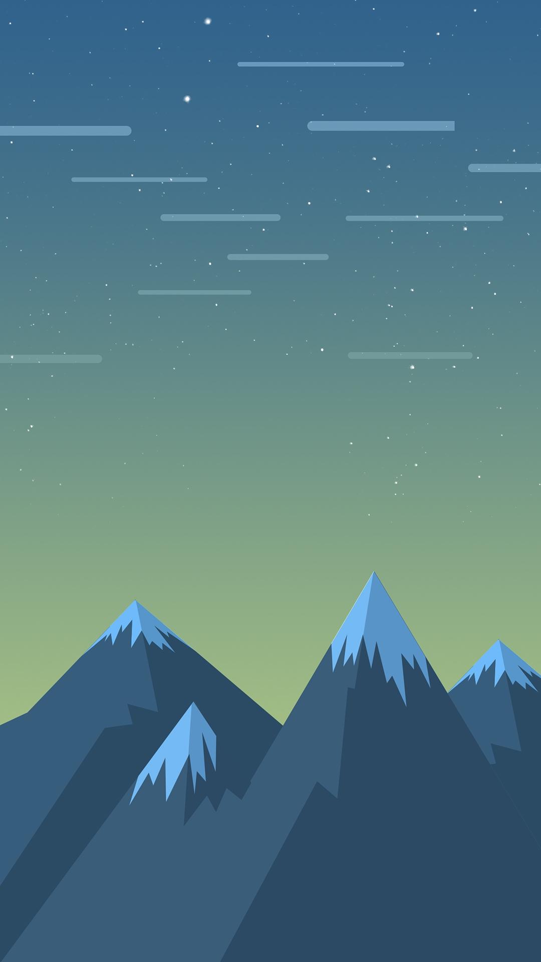 Minimal Mountains Stars iPhone Wallpaper iphoneswallpapers com