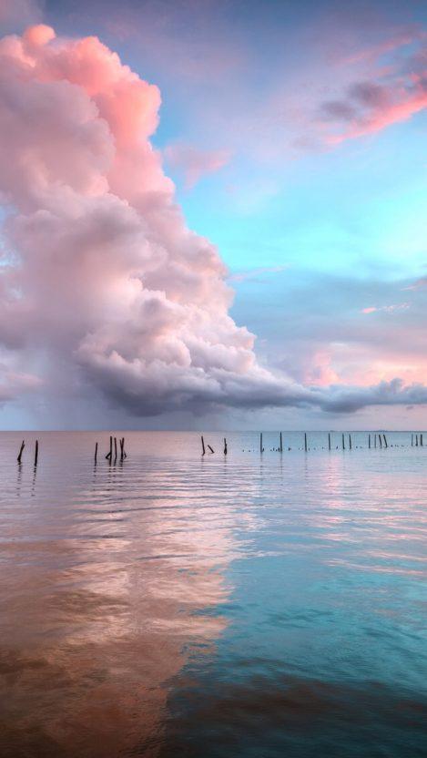 Sunset Clouds Over Ocean IPhone Wallpaper