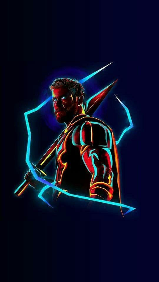 Thor Neon Avengers infinity War iPhone Wallpaper iphoneswallpapers com