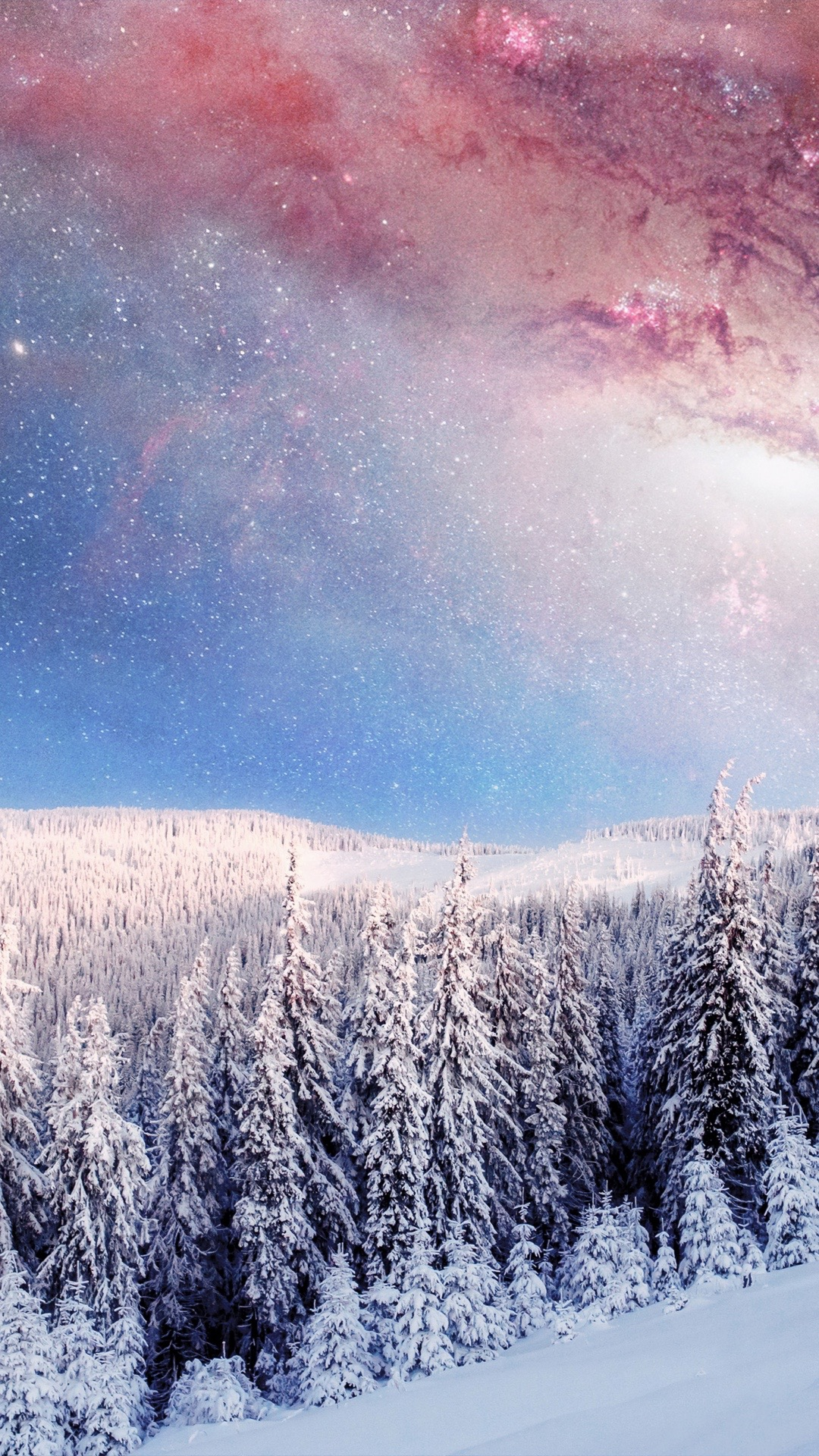 Winter Forest Galaxy From Earth Iphone Wallpaper Iphone